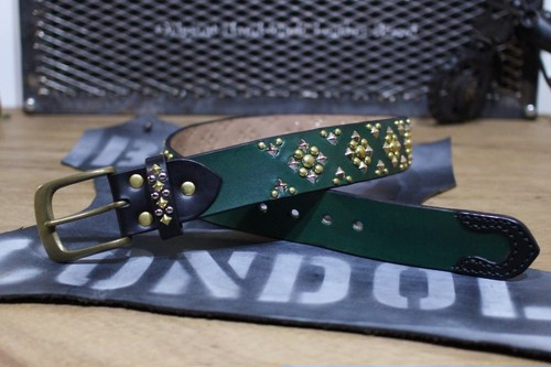 """Color Studs Belt STD"" Green"