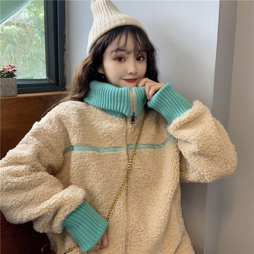 【アウター】ファッション韓国系スタンドネック配色ダウンコート
