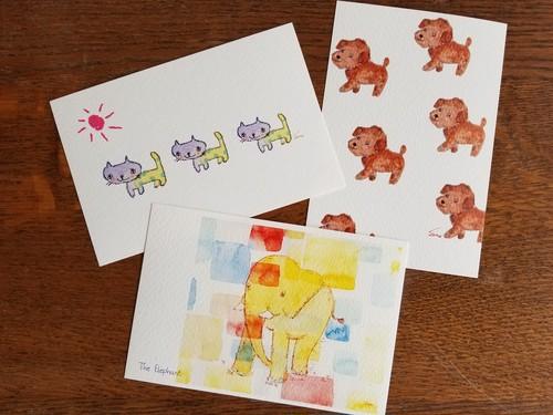動物ポストカード3枚セット(3post cards~animals~)