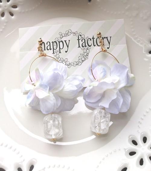 紫陽花とクリスタルの雨乞いイヤリング
