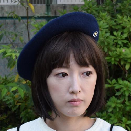 ベレー帽(レコードワッペン) ネイビー 秋冬新作 F ユニセックス WATERFALL コラボ商品