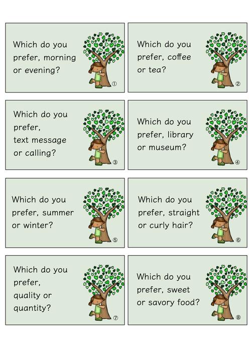 英会話カード ( どっちが好き? )