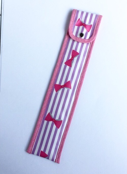 30cm竹定規ケース ラベンダーストライプ&ピンクリボンラミネート
