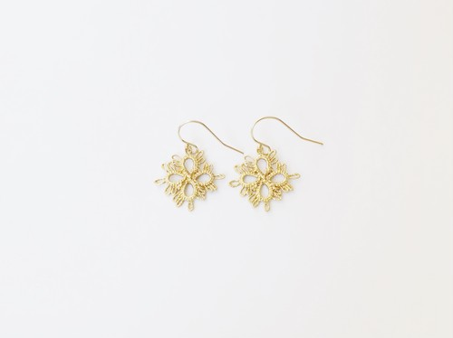 YulariceTatting lace earring Clover Brass