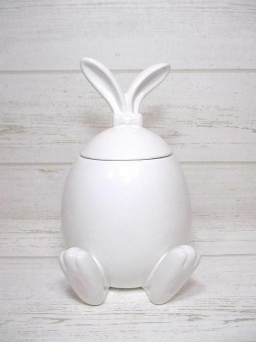 陶器製白うさぎの小物入れ