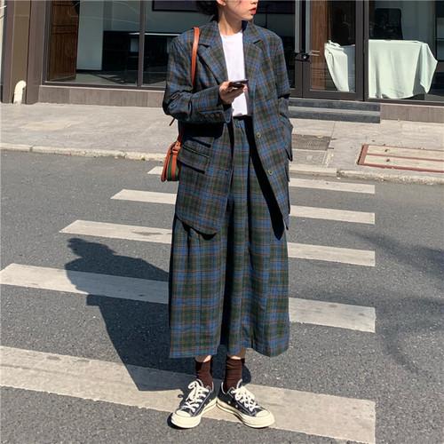 セットアップ チェック柄 テーラードジャケット + ロングスカート 韓国ファッション レディース ジャケット ハイウエス DTC-606121505644