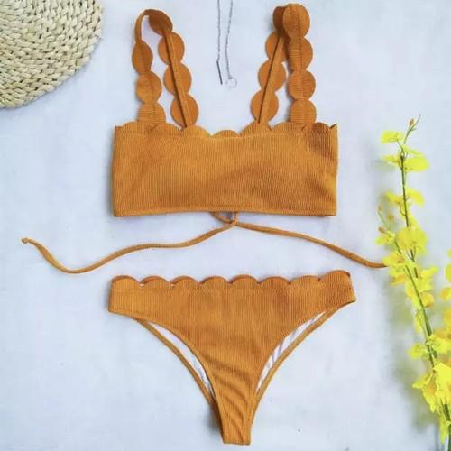 Bikini♡フリルカットリブビキニ オレンジ
