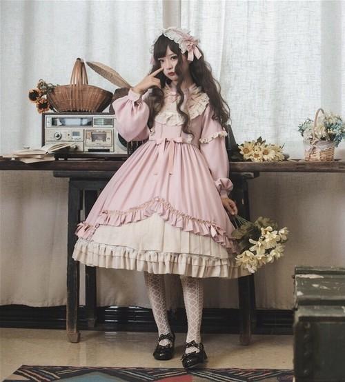 【お取り寄せ】ロリィタ リボンティアード ワンピース 3色