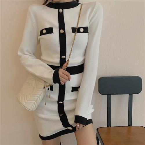 【ワンピース】秋冬新作配色シングルブレスト着やせニットワンピース