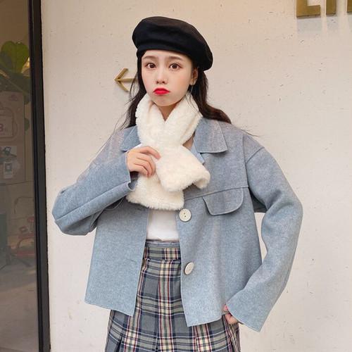 【アウター】韓国系秋冬シングルブレストコート清新カジュアルトレンチコート