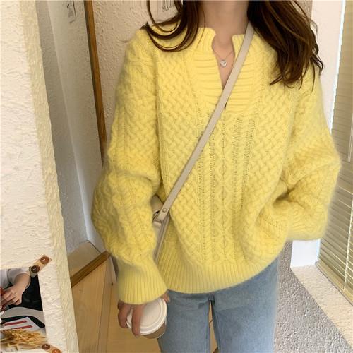 【トップス】気質満レトロラウンドネック多色ニットセーター
