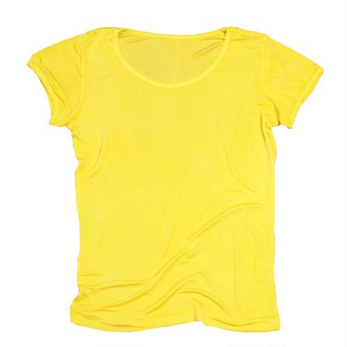 マリーゴールド染めシルク100%半袖カットソー~黄檗色(きはだいろ)~