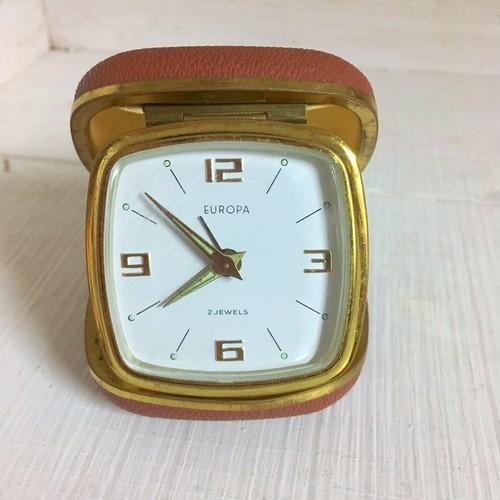 ドイツ製 ヴィンテージ EUROPA製  手巻き 目覚まし時計 旅行用 ゼンマイ式 アンティーク
