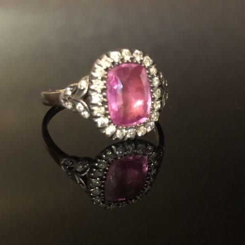 Pink Sapphire Georgian Diamond Ring