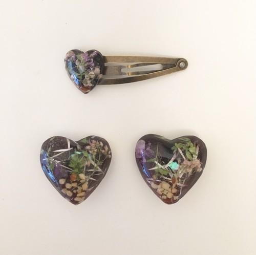 mellow / umber heart earing & hairpin (wine)