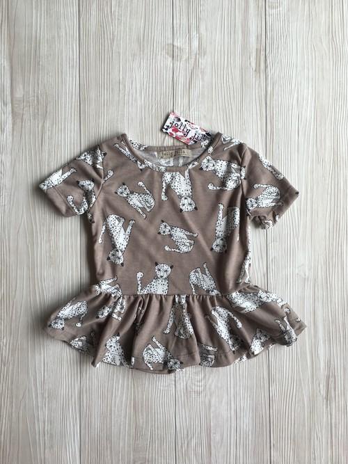 【即納】アニマル柄 ペプラム カットソー Tシャツ