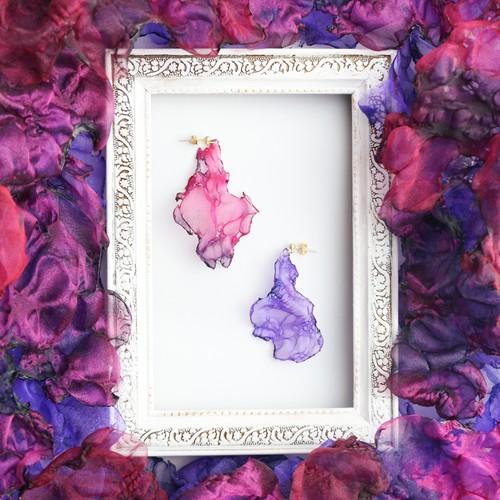 『幻』ゆらめく焔 no,3|赤と紫のゆれるアートピアス/イヤリング