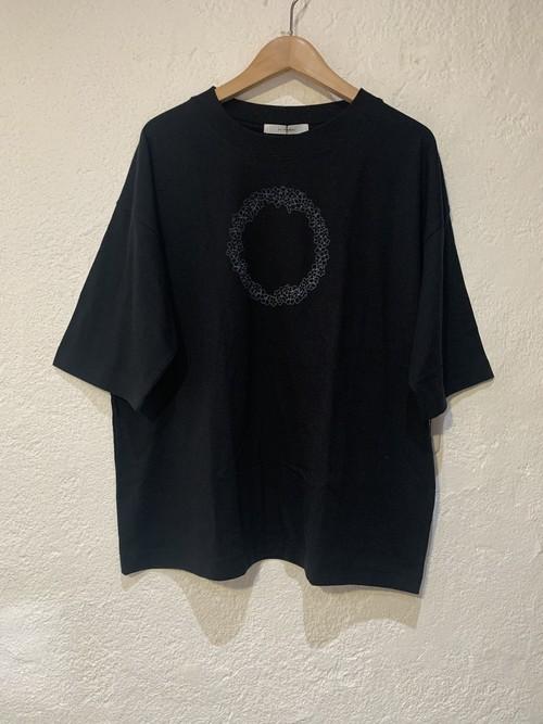 eka/5分袖Tシャツ 花プリント ブラック