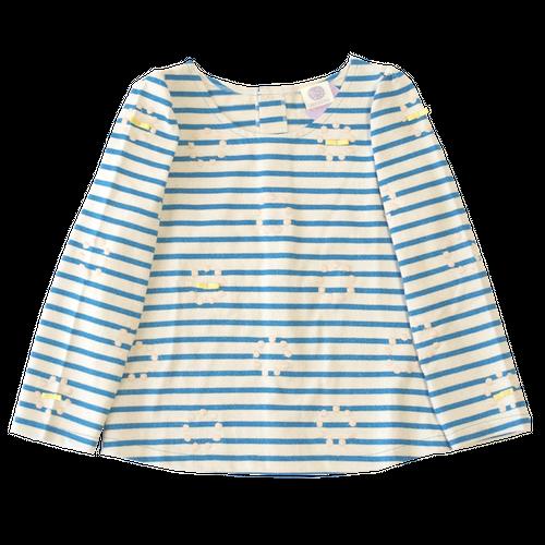 circle刺繍ボーダーカットソー/BLUE