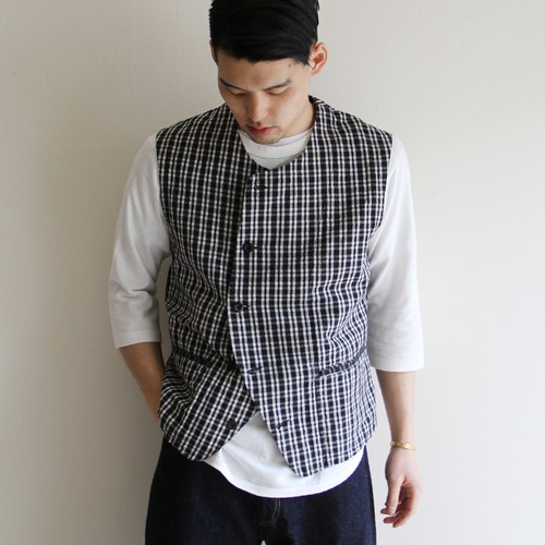 OUTIL  【 mens 】gilet hem check