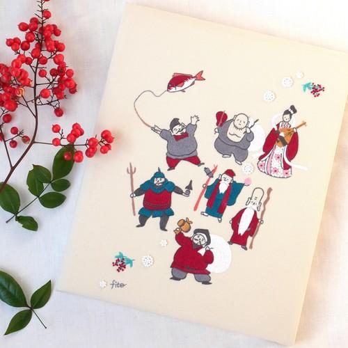ファブリックパネル「七福神の行進 シリアルNo.1」刺繍パネル 手刺繍