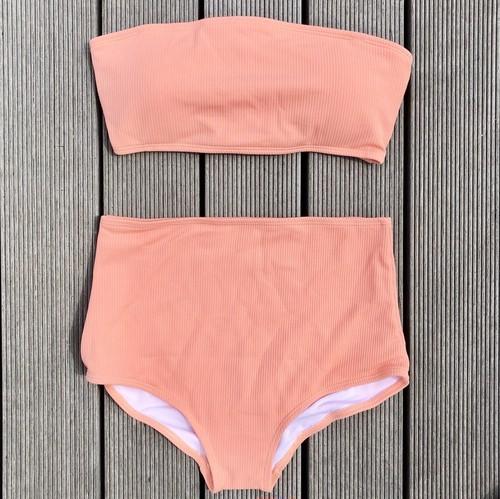 Bikini♡リブバンドゥハイウエストビキニ ピンク