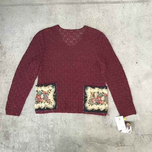Mametra × SHINPINレース編み長袖トップス