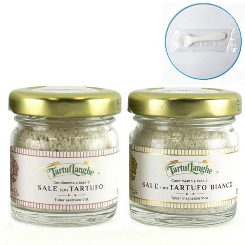 タルトゥフランゲ トリュフ塩 30g 黒・白トリュフ塩セット イタリア 贅沢な香りで料理を引き立てる 便利なミニスプーンセット 国内正規品