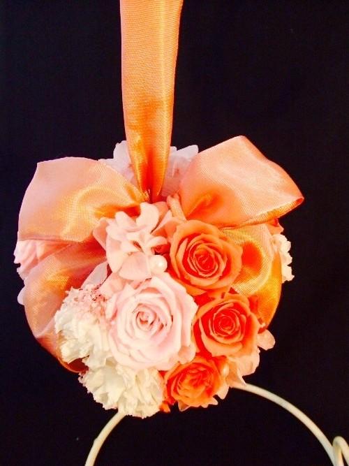 Wedding かわいいボールブーケ大きなリボン 色選択