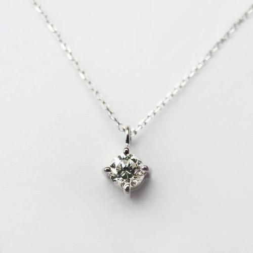 Pt900 シンプルな0.1ct ダイヤモンドネックレス