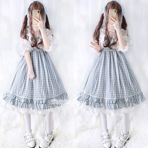 【ワンピース】ファッションレトロスウィートリボンチェック柄キャミワンピース
