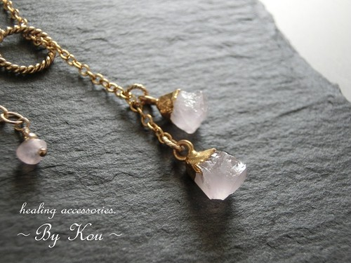 【14kgf】=◆大人のCasual style■ーRose Quartz チョーカー風ネックレス。