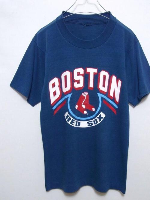 "1980's MLB ""BOSTON RED SOX"" プリントTシャツ ネイビー 実寸(S~M) ボストンレッドソックス"