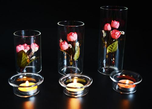 【S】2層ガラス H10×φ6㎝花器 テラリウムの容器 小物入れ