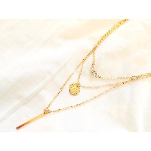【送料無料◇即納】Necklace♡ゴールド3チェーンズネックレス ストーン