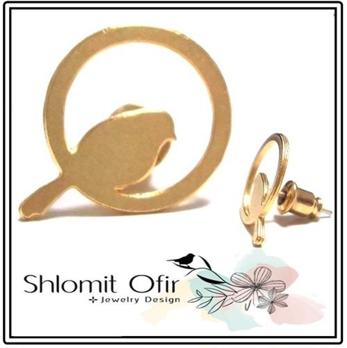Shlomit Ofir シュロミット オフィール 日本初上陸 かごの中の小鳥さん イヤリング かわいい バード ゴールド ピアス ポーチ セット 海外 ブランド