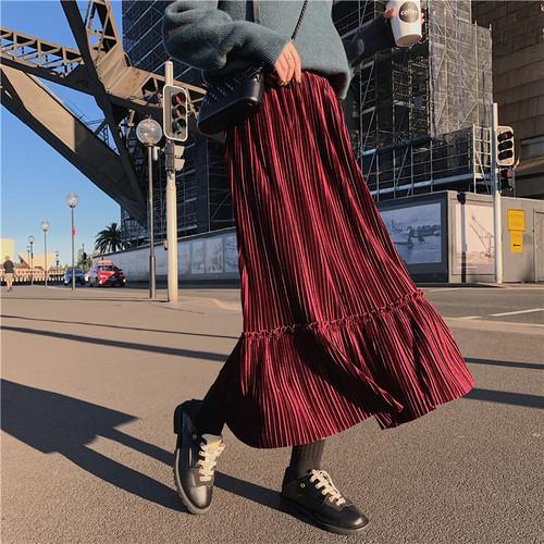 4色 retro ベルベットプリーツフレアスカート c1846