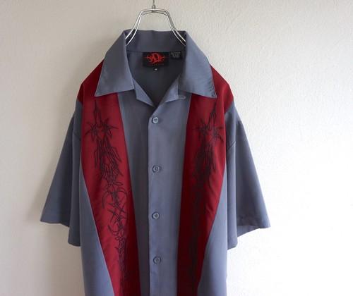 2000's ピンストライプ刺繍 チカーノシャツ グレー×バーガンディ 表記(M)