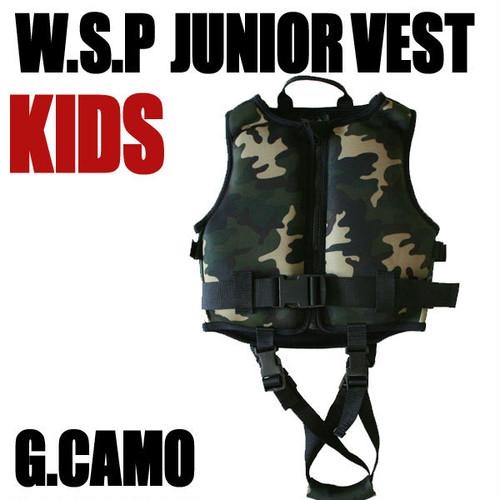 JWBA認定品 ジュニアベスト Gカモ 安心補助ベルト付ライフジャケット