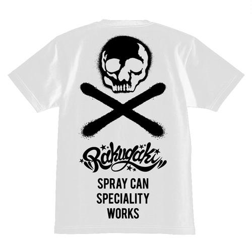 RAKUGAKI Stencil Skull Logo T-Shirts White