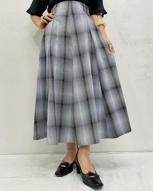(PAL) plaid flare skirt