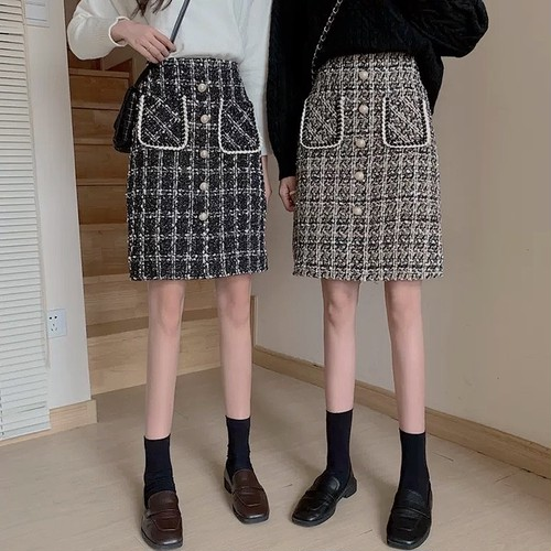 midi tweed skirt 2color