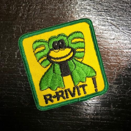 70's カエル R-RIVIT!メッセージ ワッペン ビンテージ ヒッピー ピーターマックス