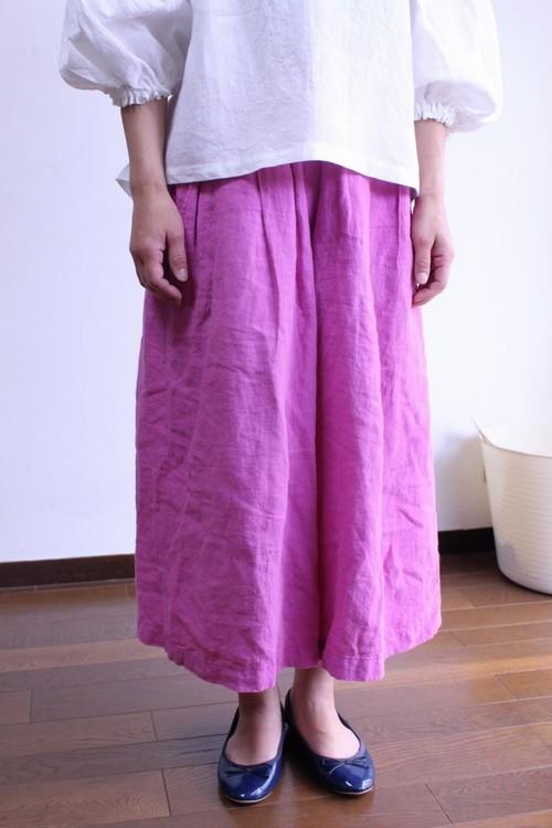 ワッシャーリネンキュロットスカート(濃いピンク) 受注製作