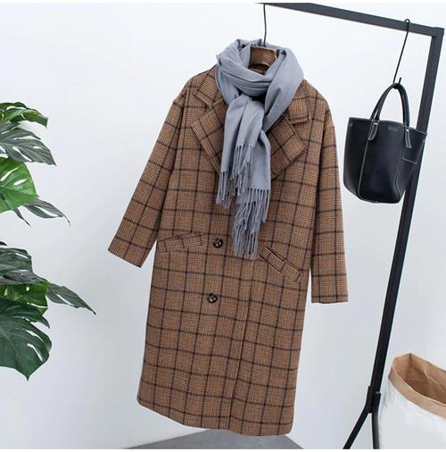 【注文商品】【アパレル】Check Velvet Vintage Fleece Long Over Coat【Brown】