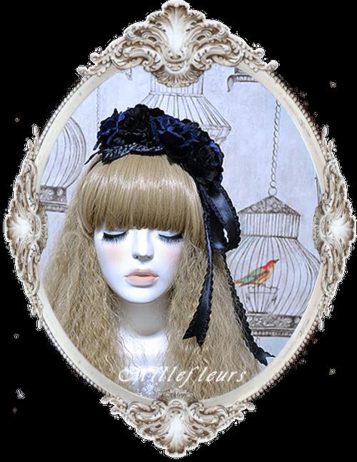 薔薇とリボンのヘッドドレス