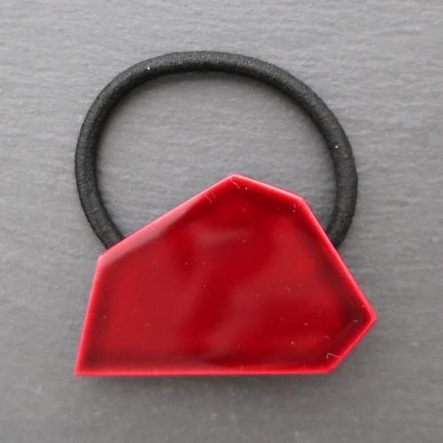 飛騨春慶塗 ヘアゴム 多角形 紅 (H003)