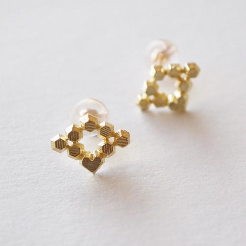 Hex stud earrings - Diamond