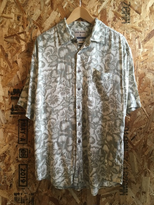 faintly hibiscuns patterned shirt