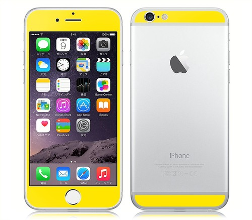 iPhone6、iPhone6Plus用 両面カスタムデザイン液晶フィルムシール(イエロー)